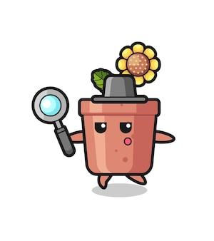 Personaggio dei cartoni animati di vaso di girasole che cerca con una lente d'ingrandimento, design in stile carino per maglietta, adesivo, elemento logo
