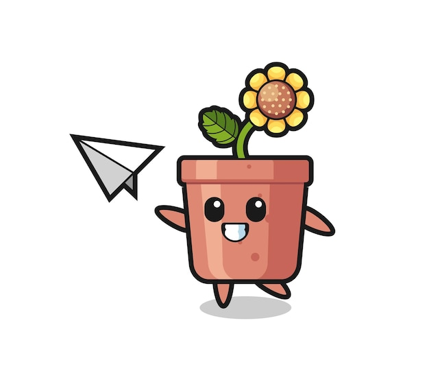 Personaggio dei cartoni animati di vaso di girasole che lancia aeroplano di carta, design in stile carino per maglietta, adesivo, elemento logo