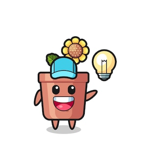 Cartone animato personaggio vaso di girasole che ottiene l'idea, design in stile carino per t-shirt, adesivo, elemento logo