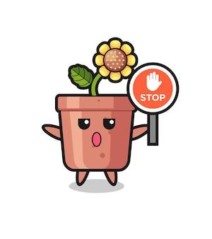 Illustrazione del personaggio del vaso di girasole che tiene un segnale di stop, design in stile carino per maglietta, adesivo, elemento logo