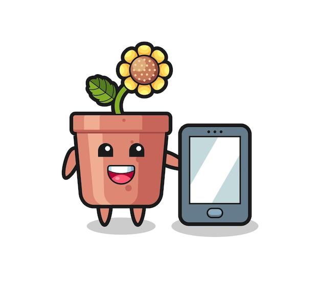 Fumetto dell'illustrazione del vaso del girasole che tiene uno smartphone, design in stile carino per maglietta, adesivo, elemento logo