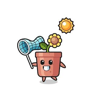 L'illustrazione della mascotte del vaso di girasole sta catturando la farfalla, il design in stile carino per la maglietta, l'adesivo, l'elemento del logo Vettore Premium