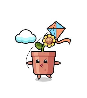 L'illustrazione della mascotte del vaso di girasole sta giocando a un aquilone, un design in stile carino per maglietta, adesivo, elemento logo