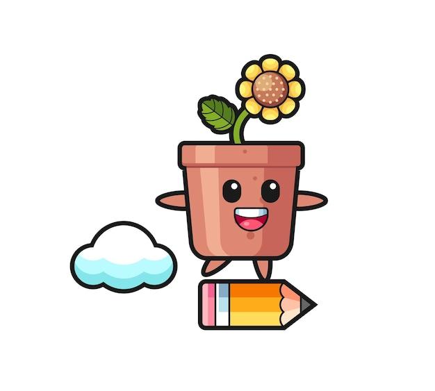 Illustrazione della mascotte del vaso di girasole che cavalca una matita gigante, design in stile carino per maglietta, adesivo, elemento logo