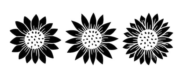 Insieme semplice dell'icona del girasole. illustrazione di vettore della siluetta del fiore. collezione logo grafico girasole, icona disegnata a mano per imballaggio, arredamento. cornice di petali, sagoma nera isolata su priorità bassa bianca.
