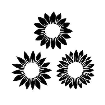 Monogramma diviso girasole. illustrazione di vettore della siluetta del fiore. logo grafico del girasole, icona disegnata a mano per l'imballaggio, l'arredamento. cornice di petali, sagoma nera isolata su sfondo bianco