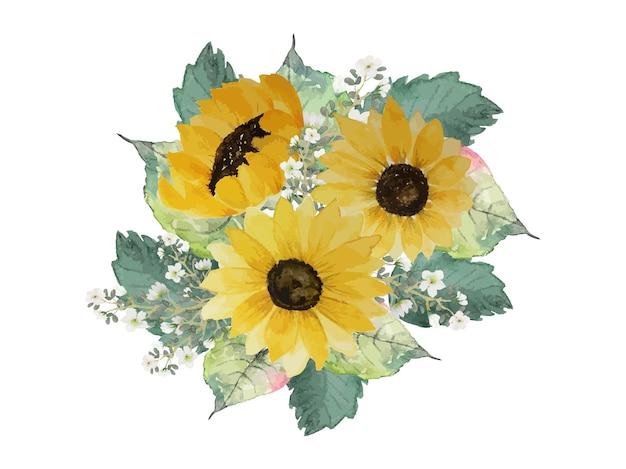 Girasole con bouquet di foglie verdi decorazione ad acquerello disegnato a mano