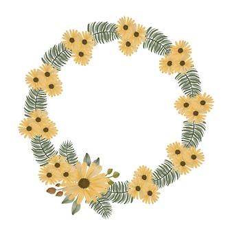 Ghirlanda di girasoli disposizione acquerello di cornice di girasole in cerchio