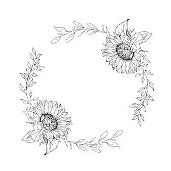 Corona di girasole. illustrazione disegnata a mano.