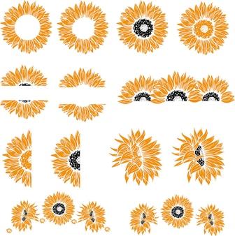 Set di elementi di design di girasoli corona e bordo
