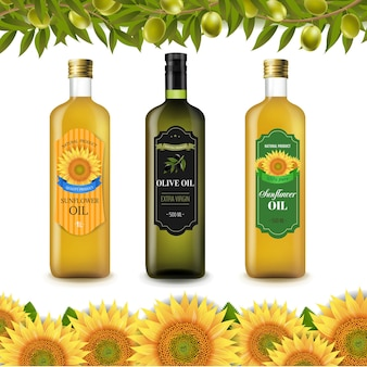 Etichette bottiglia di girasoli e olio d'oliva con bordo