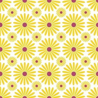 Modello senza cuciture di girasoli. ripeti lo sfondo floreale per il design tessile. Vettore Premium