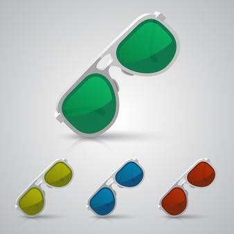 Occhiali da sole colore art set oggetto. illustrazione vettoriale