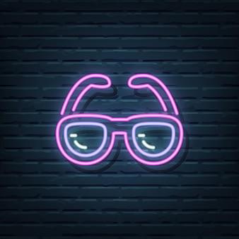 Elementi del segno al neon degli occhiali da sole