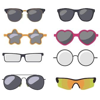 Set occhiali da sole, occhiali da sole estivi per la protezione solare.