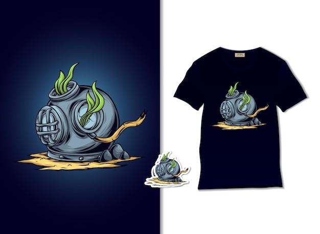 Illustrazione di casco sommerso con design t-shirt