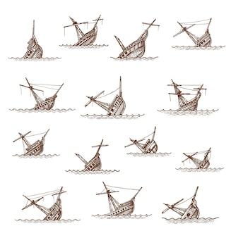 Schizzo di barche a vela e barche a vela affondate, relitti di barche vettoriali o naufragi. navi annegate o affondate rotte nelle onde del mare o dell'oceano, navi fregate pirata affondate disegnate a mano d'epoca. elementi della mappa