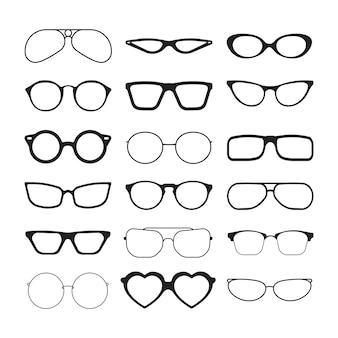 Occhiali da sole. occhiali alla moda montature in plastica nera modelli retrò protezione solare cool eye vision sagome vettoriali. occhiali da vista di protezione dell'illustrazione modellati, montatura in plastica