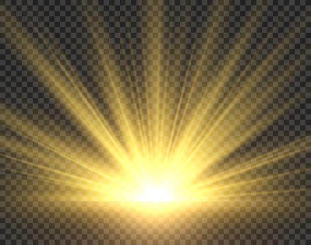 Luce solare isolata. raggi di sole dorato splendore. illustrazione trasparente di vettore dello starburst del sole del riflettore luminoso giallo