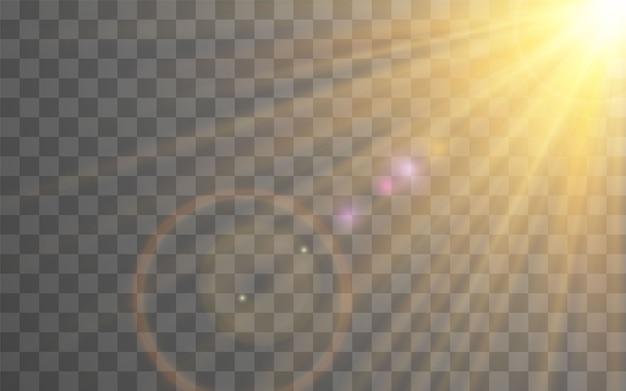 Effetto luce flash lente speciale luce solare su sfondo trasparente. effetto di sfocatura della luce.