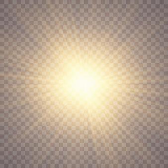 Luce solare su uno sfondo trasparente. effetti di luce bagliore. paillettes lampeggianti di stelle. abbagliamento del sole su sfondo trasparente. l'obiettivo brilla. luce del sole trasparente speciale effetto riflesso lente. Vettore Premium