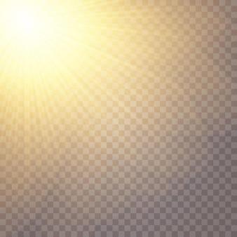 Luce solare su uno sfondo trasparente, effetti di luce bagliore.