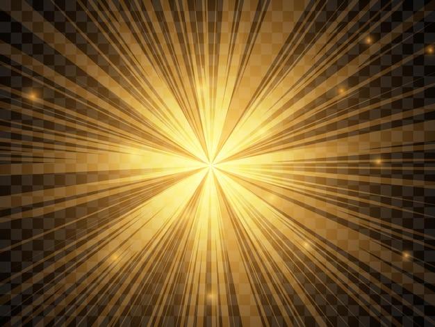 Luce solare su uno sfondo trasparente. raggi di luce gialli isolati. illustrazione vettoriale