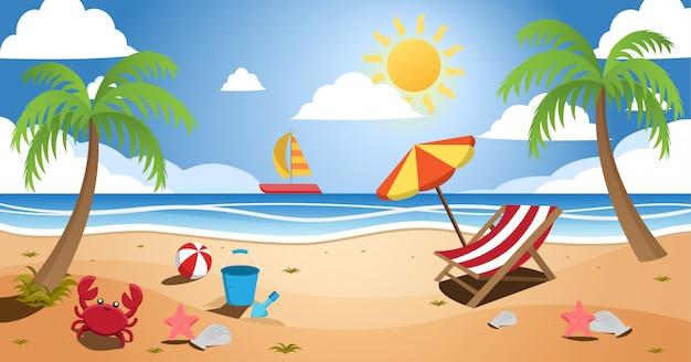 Sunny beach summer landscape