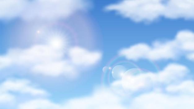 Cielo blu soleggiato. cieli naturali nuvole con il sole. giornata di sole splendente, tempo nuvoloso. sfondo vettoriale di luce solare.