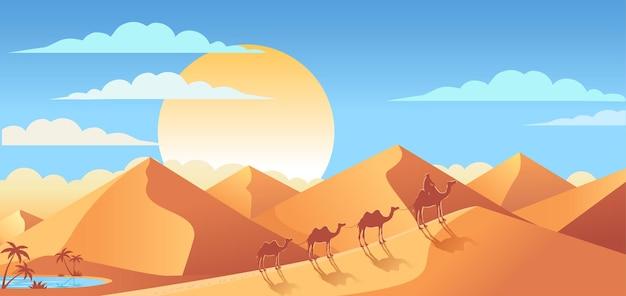 Paesaggio soleggiato delle dune del deserto e illustrazione della carovana di cammelli