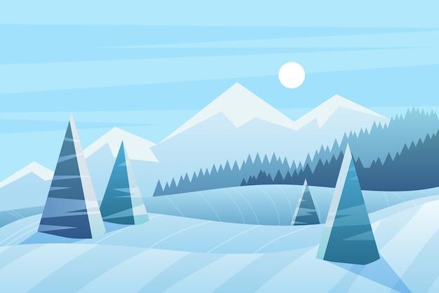Illustrazione di giornata invernale di sole. vista panoramica con abeti rossi e montagne.