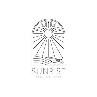 Sunrise badge logo monoline style design illustrazione vettoriale