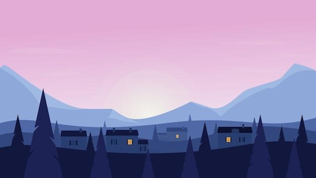 Illustrazione di vettore del paesaggio dell'azienda agricola del paese di alba o tramonto, paesaggio di terreni agricoli di campagna piatta del fumetto con il sole nascente e le case del villaggio tra gli alberi di pino