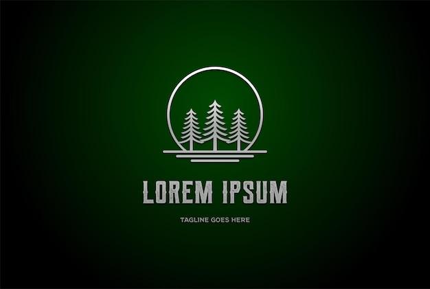 Alba tramonto luna pino sempreverde cedro cipresso larice hemlock albero foresta lago fiume logo design vector