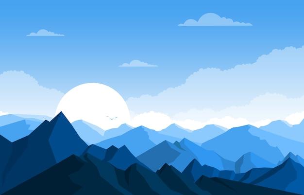 Illustrazione monocromatica forest wild nature landscape della montagna di tramonto di alba