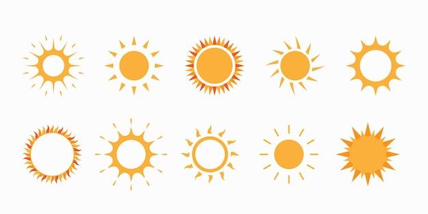 Collezione di icone di suns.