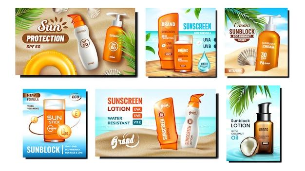 Set di poster promozionali crema solare
