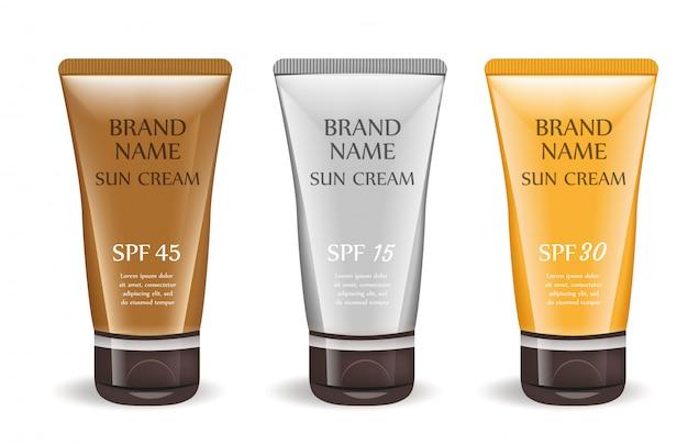 Insieme realistico del pacchetto crema crema solare, isolato su fondo bianco. tubo 3d, bottiglia mock-up per modello di marca. .