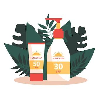 Crema solare e alci su sfondo di foglie tropicali. protezione uv. prevenzione dell'invecchiamento e del cancro della pelle.
