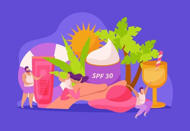 Composizione piatta per la cura della pelle solare con creme e foglie tropicali con personaggi umani scarabocchiati