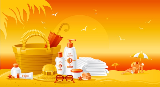 Paesaggio della spiaggia al tramonto con bottiglie di crema solare. annuncio estivo di prodotto uv per protezione solare. lozione cosmetica per la cura della pelle. sfondo piatto stile di vita sano.
