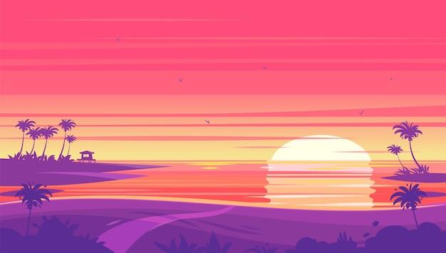 Paesaggio della spiaggia al tramonto con tramonto con palme e bungalow.