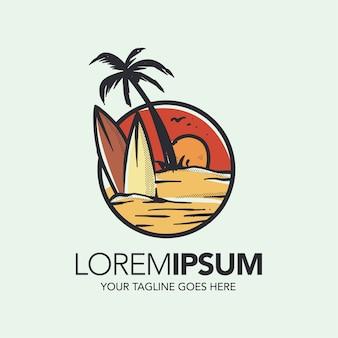 Sunset beach logo design