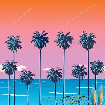 Tramonto sulla spiaggia con palme, oceano turchese e cielo arancione con nuvole. pedalare sulla spiaggia. sfondo tropicale per le vacanze estive. spiaggia per il surf. illustrazione