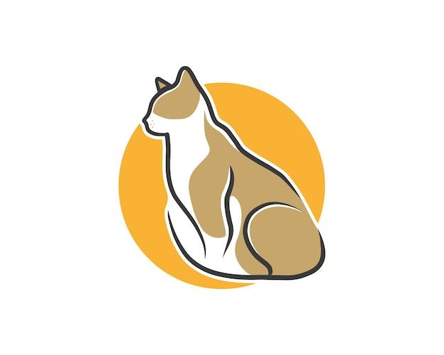 Tramonto marrone gatto semplice linea minimalista logo arte illustrazione vettoriale