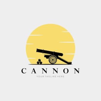 Disegno dell'illustrazione vettoriale del logo vintage del tramonto, del cannone e della palla di cannone