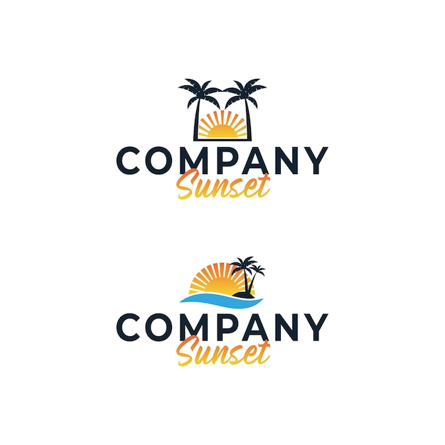 Tramonto del vettore di idee di design del logo aziendale