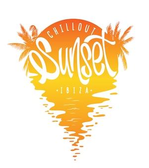 Tipografia sunset ibiza, stampa grafica t-shirt