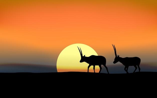 Paesaggio al tramonto con animali in silhouette