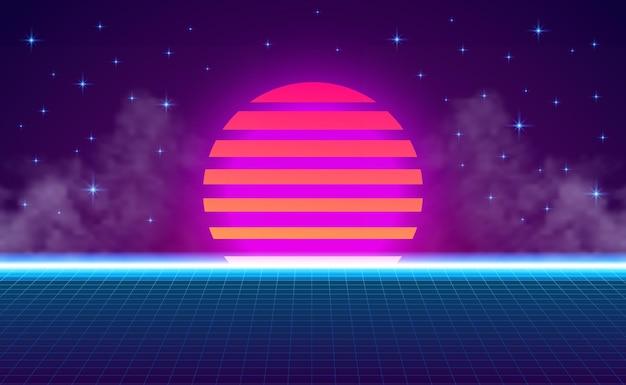 Tramonto prospettiva griglia neon viola ciano gradiente bagliore colore. stile vintage retrò anni '80 astratto. astratto sfondo vibrante